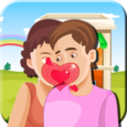 Fun Young Couple Love Kiss Icon