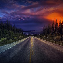 Beautiful Sunset Over Road
