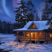 Log Cabin Under The Northern Lights