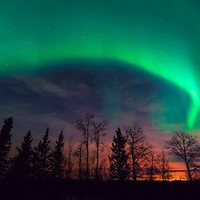 Northern Lights Over Sunset