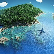 Plane Flying Over Island