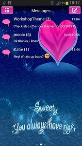 GO SMS Pro Theme Pink Blue