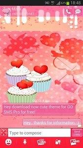 GO SMS Pro Theme cupcake heart