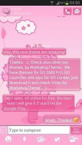 GO SMS Pro Theme Pink Cat