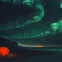 Northern Lights Jellyfish Art