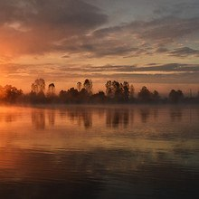 Sunrise Mist Over Lake
