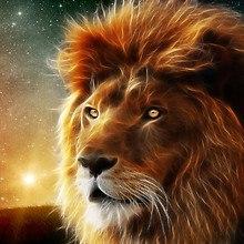 Neon Fractal Lion