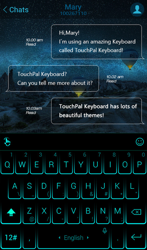 TouchPal Neon Blue Theme Free Android Keyboard download - Appraw