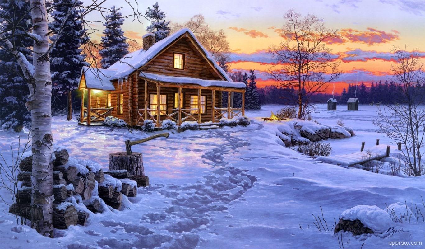 log cabin art wallpaper download christmas hd wallpaper