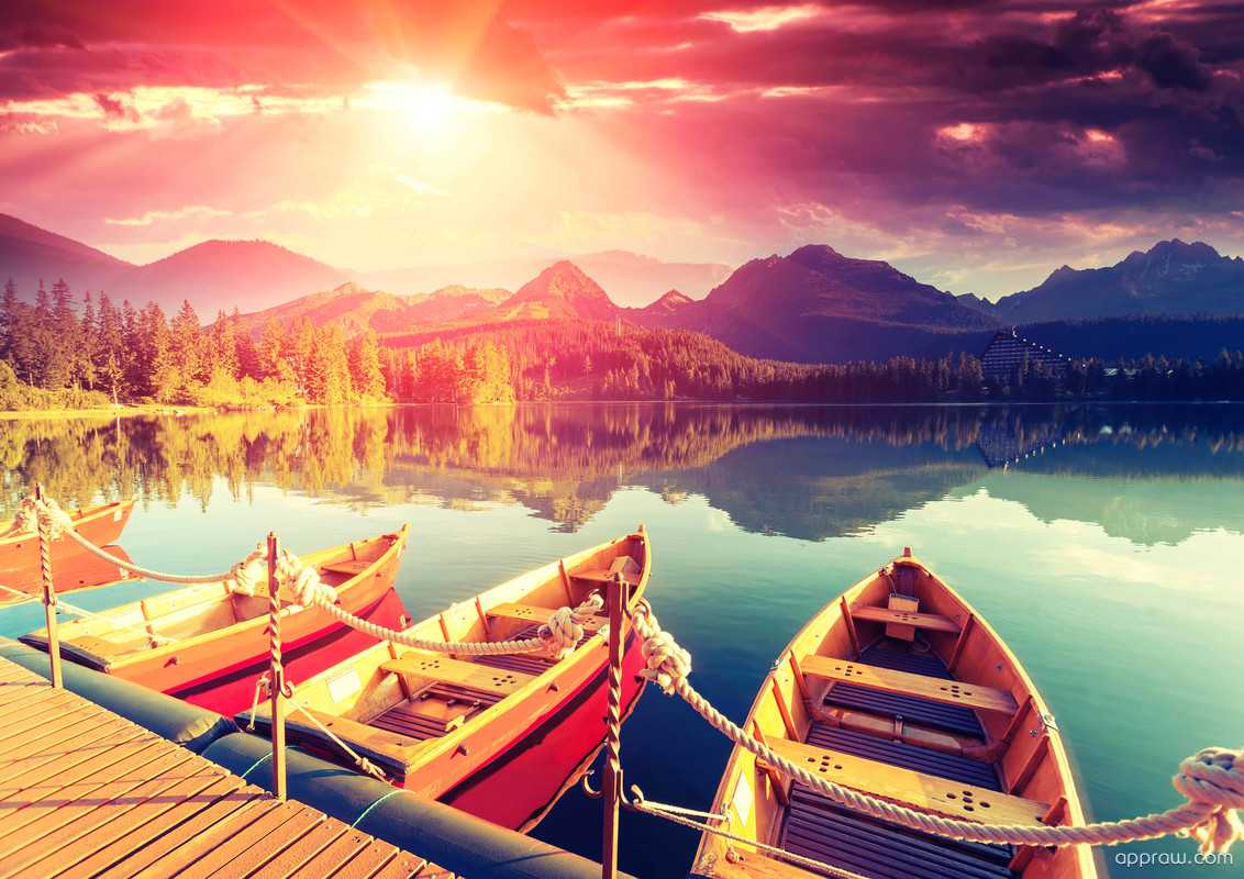dreamy sunrise over mountain lake HD Wallpaper Background Image
