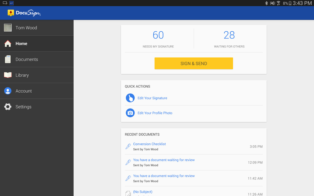 Docusign sign send docs apk free android app download for Sign documents app free