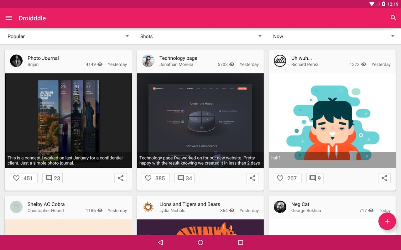 Droidddle the dribbble app apk free social android app download appraw - Home design d apk ...