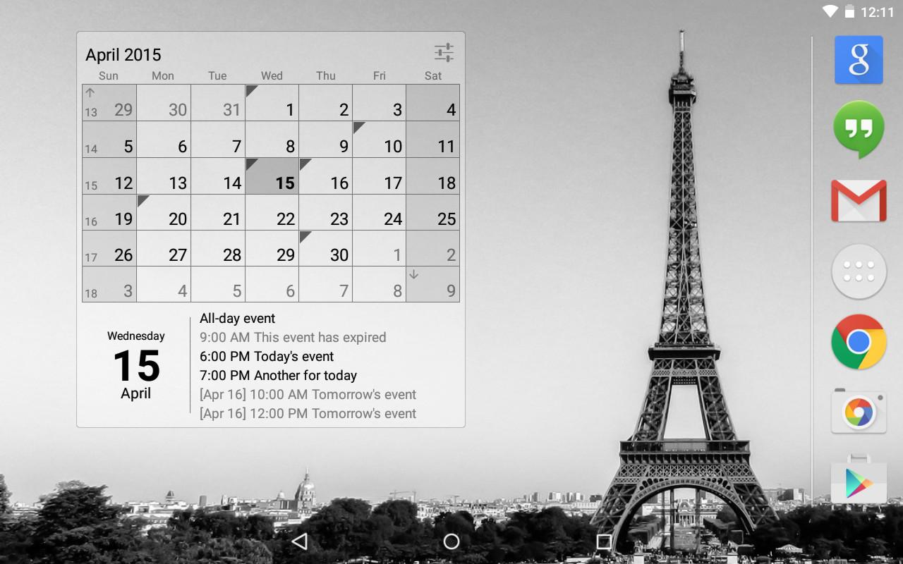 Calendar Widget Agenda