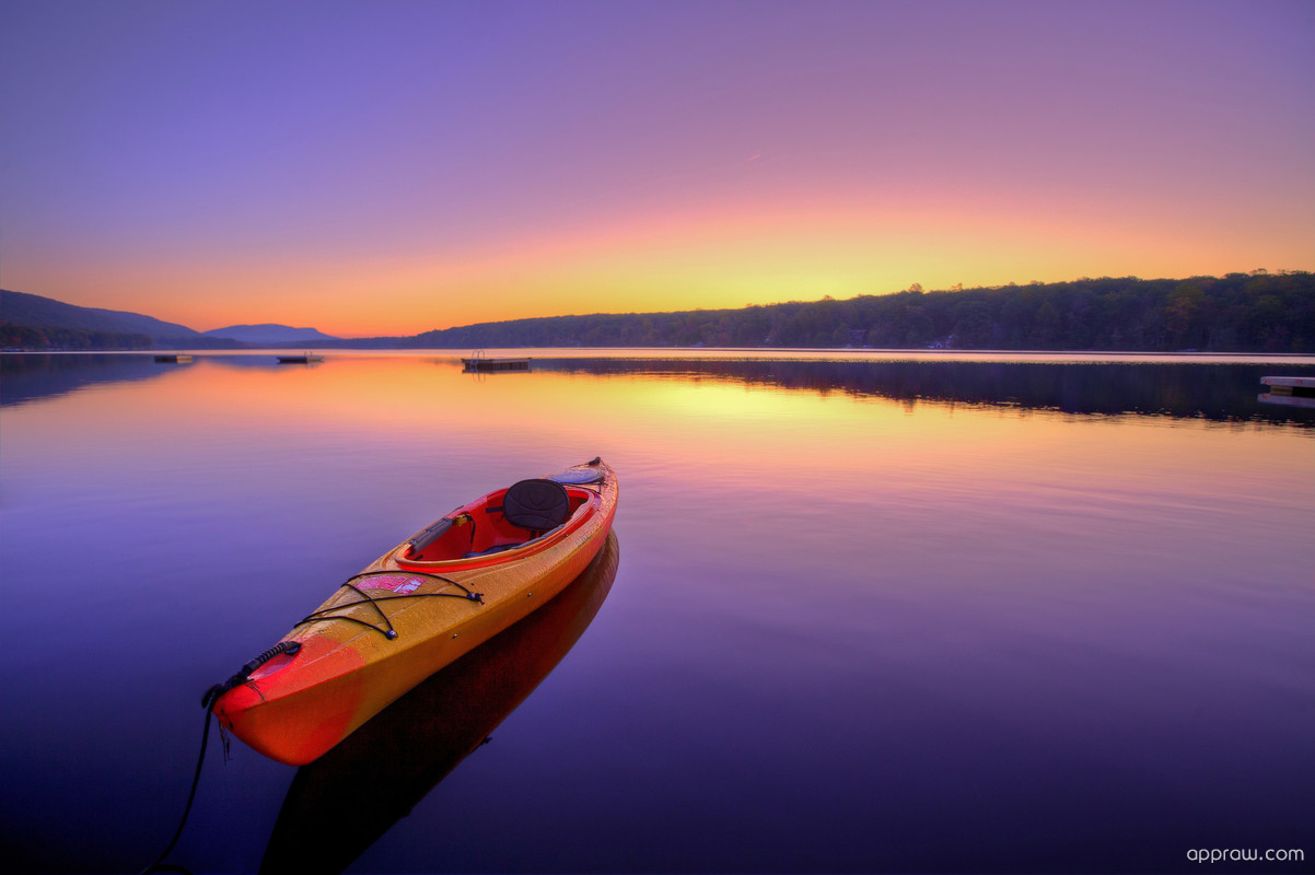 Kayak Floating On A Lake