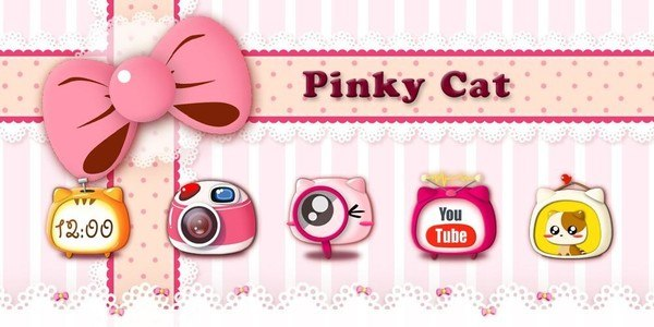 Pinky Cat GO Launcher Theme