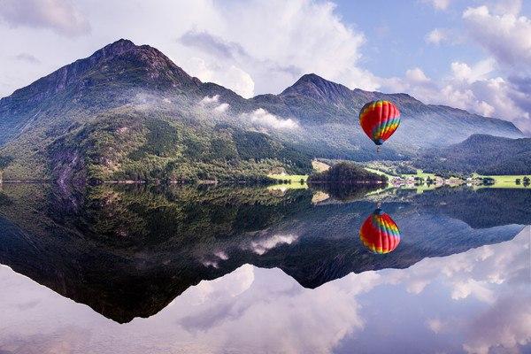 Hot Air Balloon Over Norwegian Lake