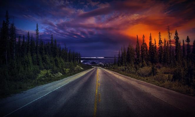 Beautiful Sunset Over Road