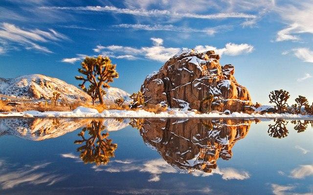 Snow Covered Desert Rock