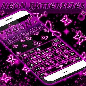 Neon Butterflies Keyboard