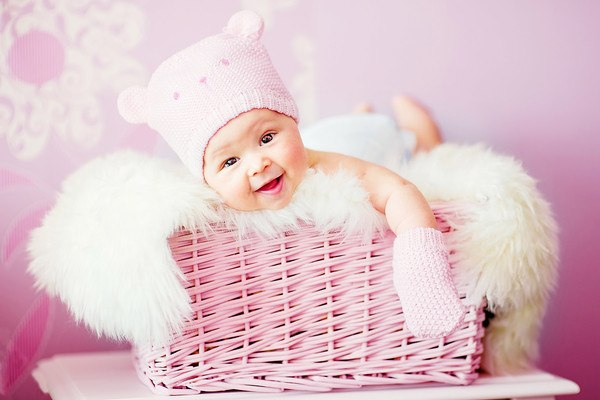 Cute Baby In Basket