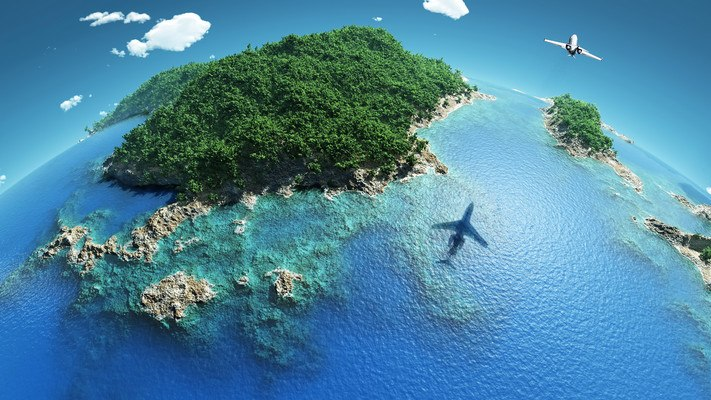 Plane Flying Over Island