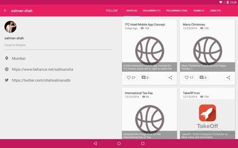 Droidddle - the Dribbble app