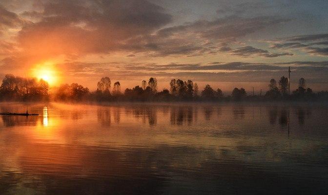 Sunrise Mist Over Lake