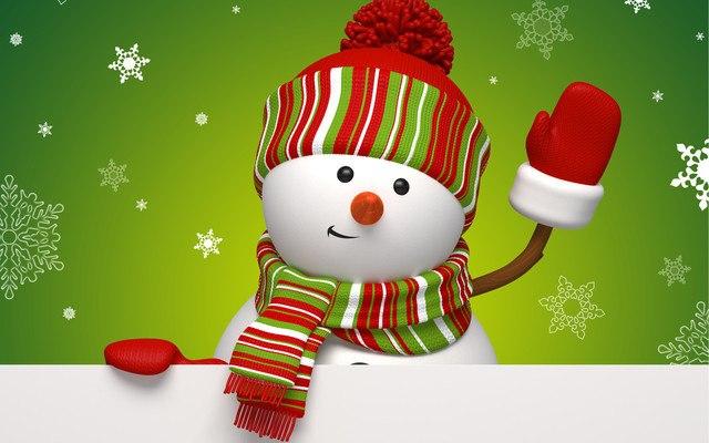 Snowman Waving Vector