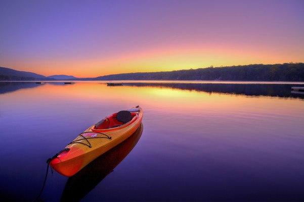 Kayak Floating On A Lake