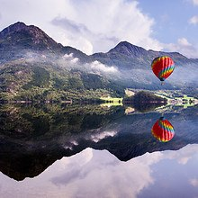 Hot Air Balloon Over Norwegian Lake