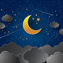 Moon & Clouds Art