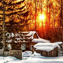 Log Cabin Sunset Winter