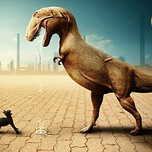 Dinosaur And Cat