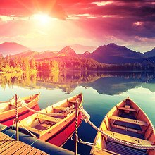 Sunrise Over Strbske Pleso Mountain Lake