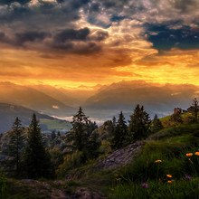 Swiss Mountain Sunset