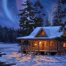 Log Cabin Under The Northern Lights