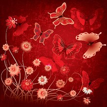 Red Butterflies & Flower