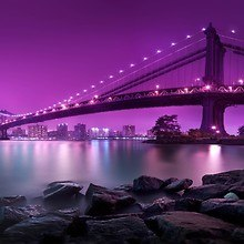 Manhattan Bridge Purple Sky