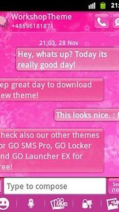 GO SMS Theme Pink Star